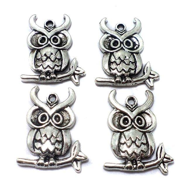 25 Pcs. German Silver Owl Pendants Charms 23x18 mm