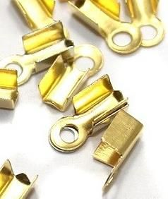 40 Cord Ends Golden 8x3 mm