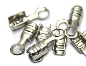 40 Cord Ends Silver Finish 7x2 mm