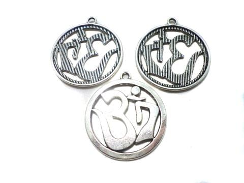 8 Pcs. German Silver Om Pandents 32 mm