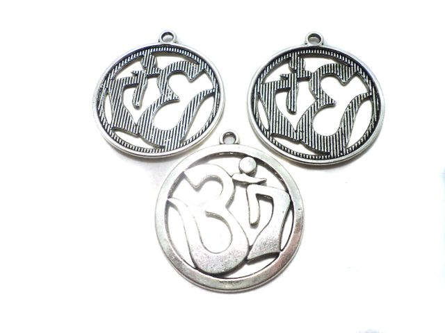 5 Pcs. German Silver Om Pandents 32 mm
