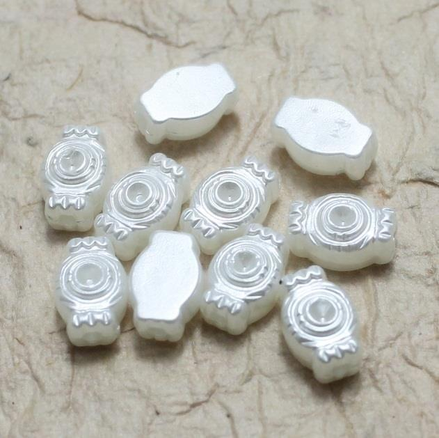 200 Acrylic Pearl Beads White 6x10 mm