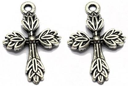 10 German Silver Cross Pendant Charm 26x16mm