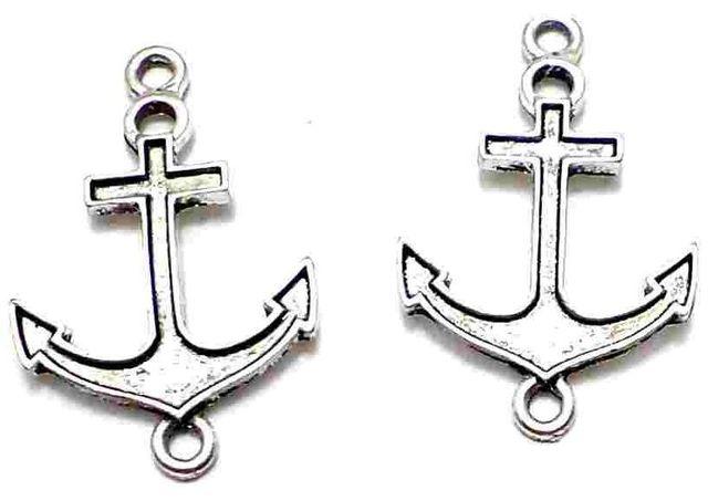 10 German Silver Anchor Pendants 30x20mm