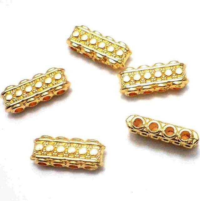20 Pcs. Spacer Beads Golden Four Hole 20x6 mm