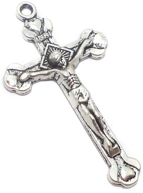 4 Pcs. German Silver Cross Pendants 41x22mm
