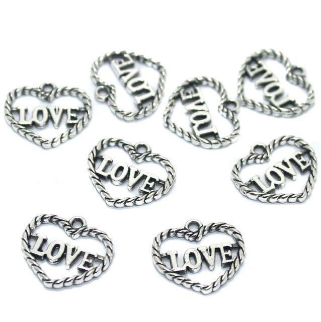 50 Pcs German Silver Heart Pendant Charms 15x14mm