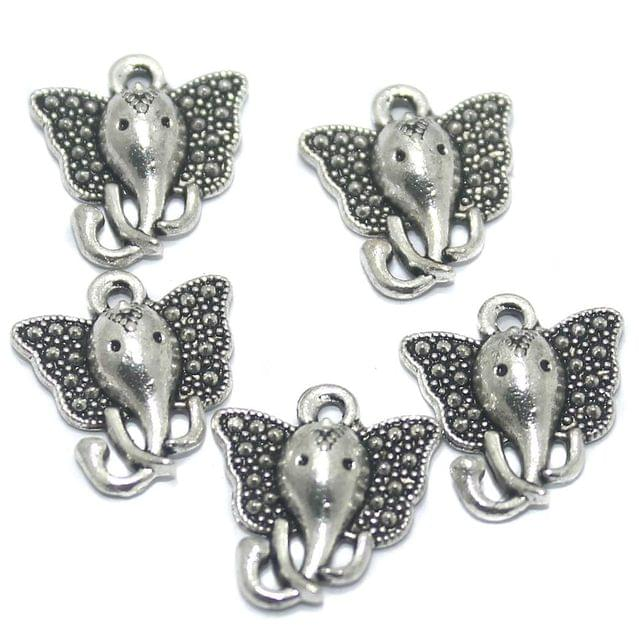 50 Pcs German Silver Elephant Charms 16x14mm