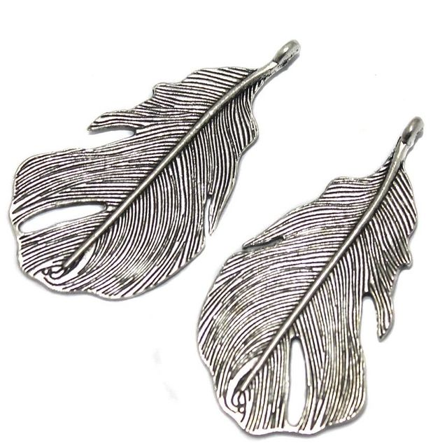 12 Pcs German Silver Leaf Pendant 47x25mm
