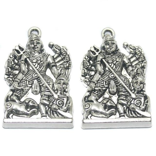 2 Pcs German Silver Maa Durga Pendant 36x23mm