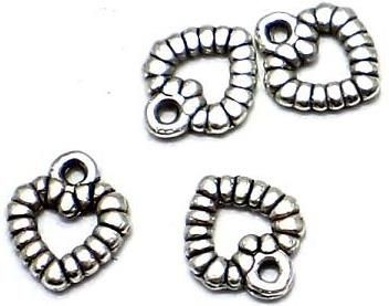 100 German Silver Heart Charms 12X10mm