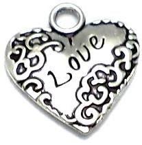 10 German Silver Heart Pendants 20x18mm
