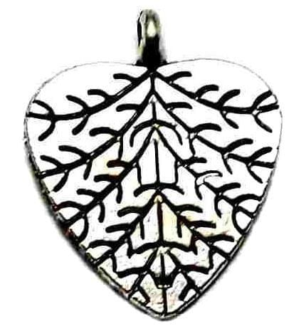10 German Silver Leaf Heart charms 22X18mm
