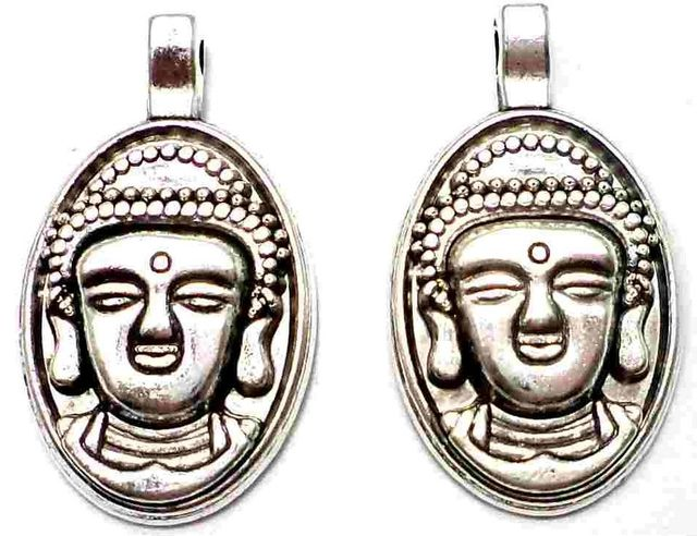 4 German Silver Lord Buddha charms 30X18mm