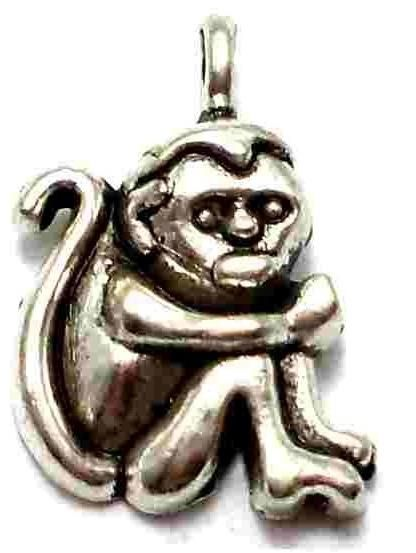 8 German Silver Monkey Charms 18X12mm