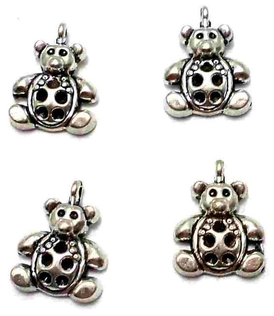 20 German Silver Teddy Charms 14X10mm