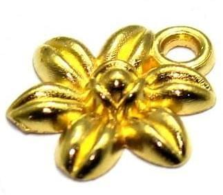 80 German Silver Daisy Flower Charms Golden 12mm