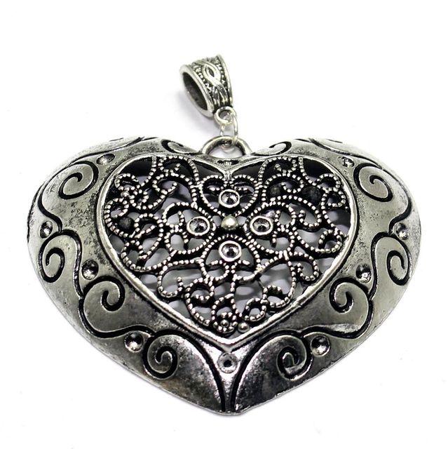 2 German Silver Heart Pendant 2.50x2 Inch