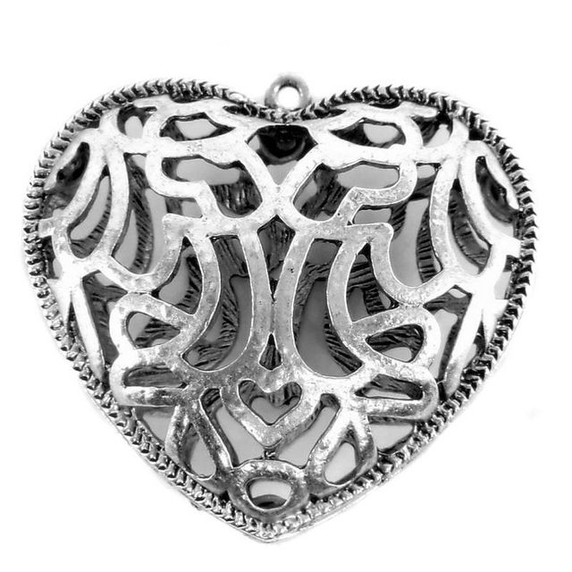 1 German Silver Heart Pendant 50x45mm