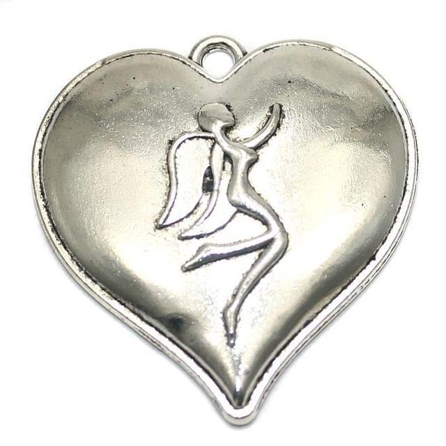 2 German Silver Heart Pendant 42mm