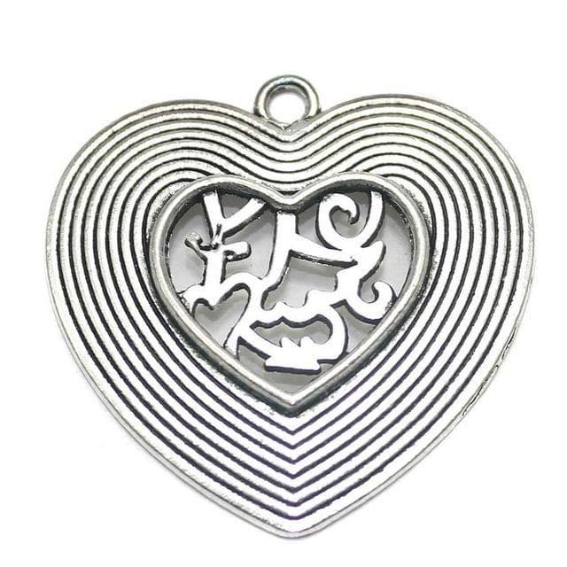 2 German Silver Heart Pendant 40x35mm