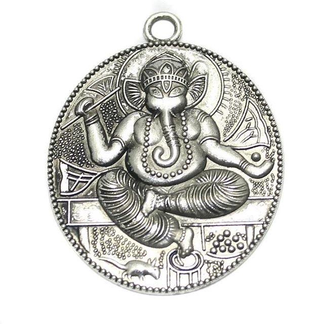 4 German Silver Lord Ganesh Pendant 52x40mm
