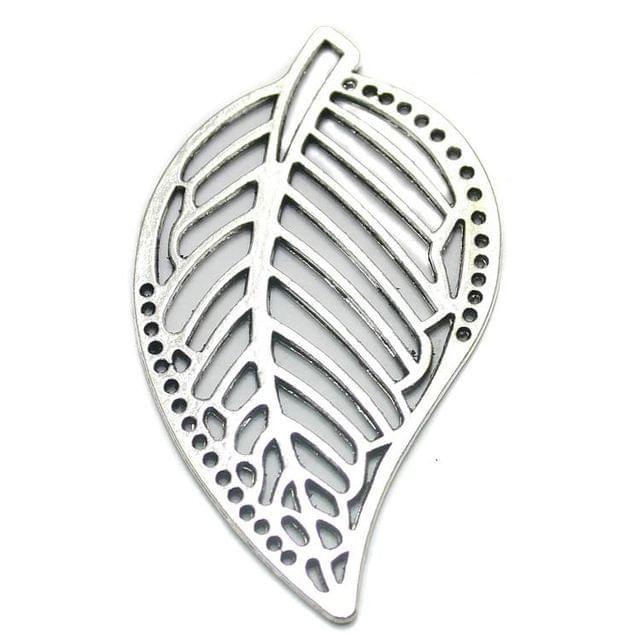 2 German Silver Leaf Pendant 58x34mm