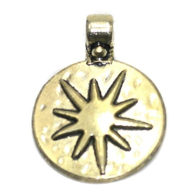 4 German Silver Circle Pendant Golden 22mm