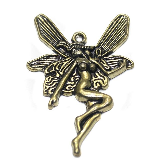 2 German Silver Flying Fairy Pendant Golden 44x28mm