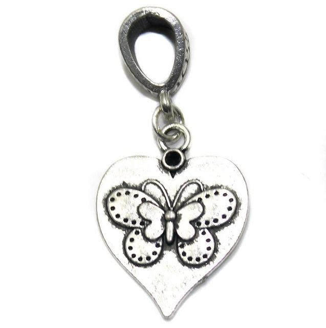 5 German Silver Butterfly Pendant With Hook 20mm