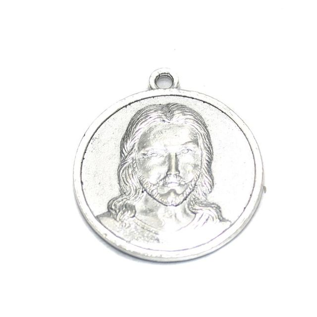 4 German Silver Jesus Pendant 22mm