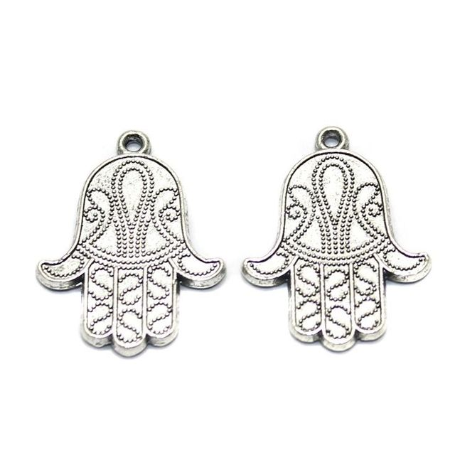 4 German Silver Hamsa Hand Charms 28x20mm