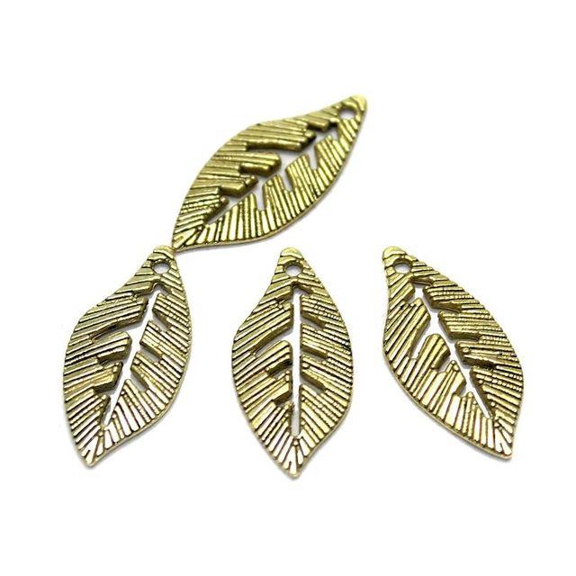 8 German Silver Leaf Earring Charm Golden 24x10mm