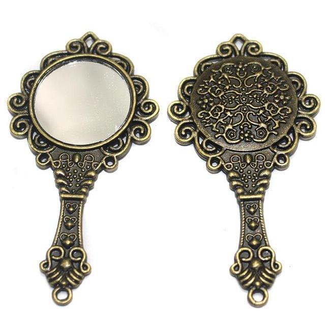 3 Pcs. Mirror Pendant Antique Golden 66x35 mm