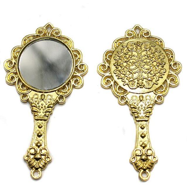 2 Pcs. Mirror Pendant Golden 66x35 mm