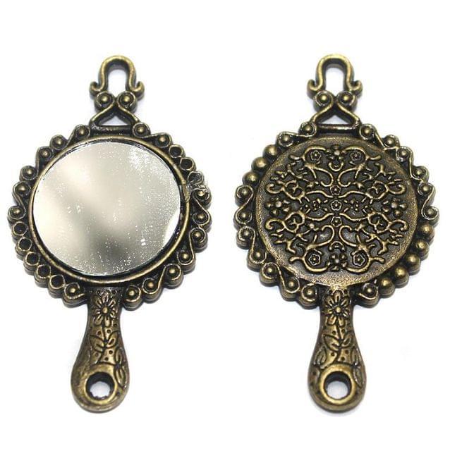 2 Pcs. Mirror Pendant Antique Golden 58x30 mm