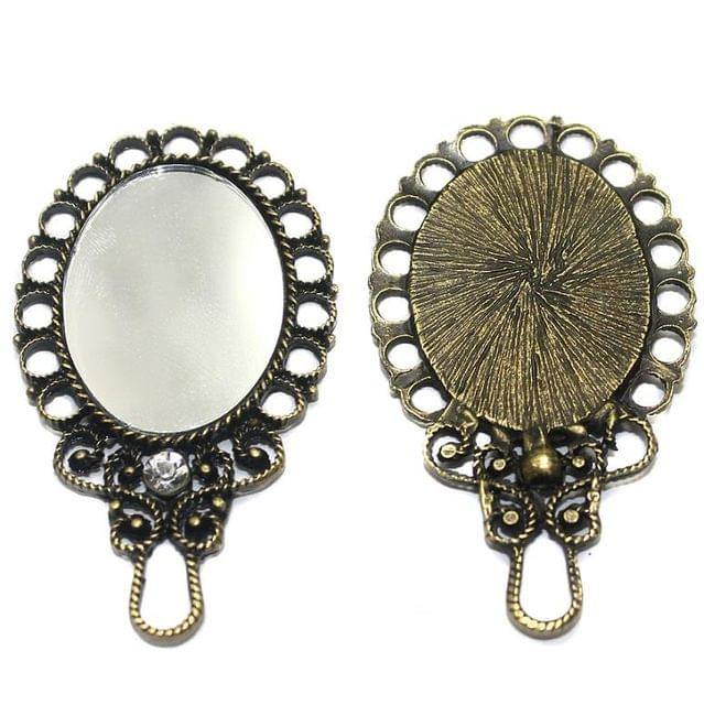 2 Pcs. Mirror Pendant Antique Golden 55x32 mm