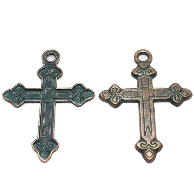2 Pcs. Cross Pendant Antique Copper 55x41 mm
