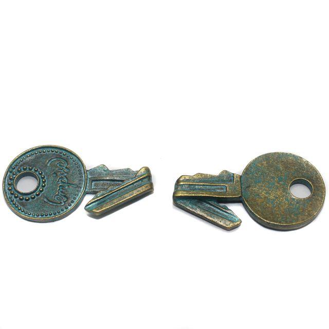 3 Pcs. Key Pendant Charm Antique Golden 35x20 mm