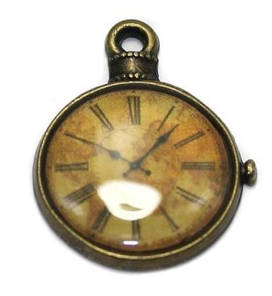 2 Pcs. Clock Pendant Charm Antique Golden 25x20 mm