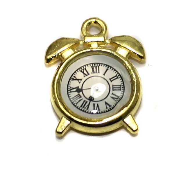 5 Pcs. Clock Pendant Charm Golden 15x10 mm