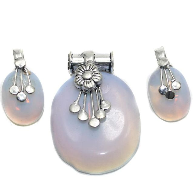 German Silver Stone Pendant and Earring Set White White Opaque 45-28mm