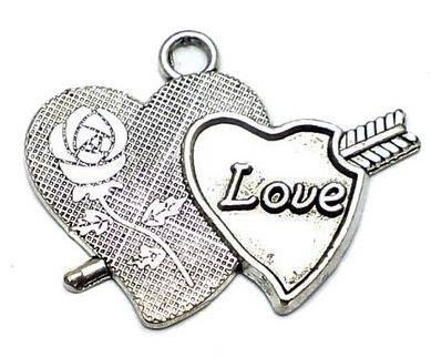 5 Silver Finish Heart Pendant 34x26mm