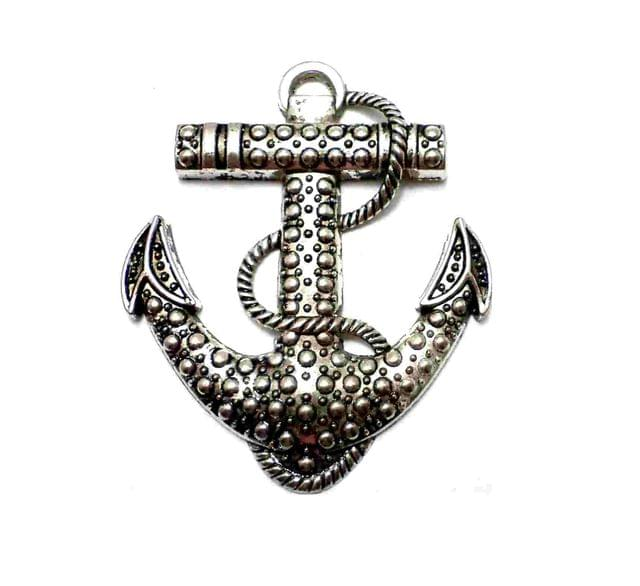 1 Pc German Silver Royal Anchor Pendant 65x55 mm