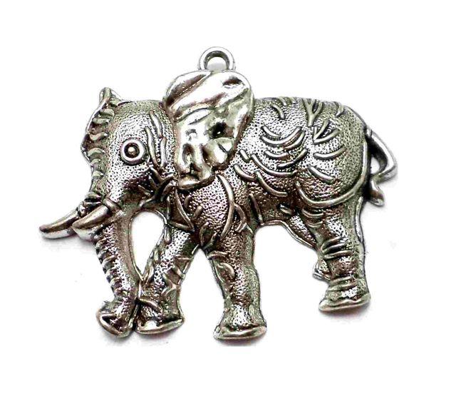 1 German Silver Royal Elephant Pendant 55x50mm