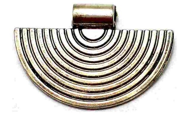 2 German Silver Semi Circle Pendant Golden 21mm