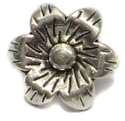 20 German Silver Flower Pendants Charms 5x12mm