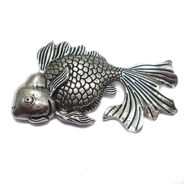 2 German Silver Fish Pendant 50x27mm