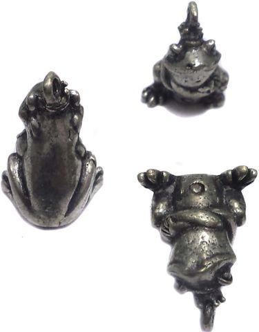 10 German Silver Frog Pendants Charms 13x8mm