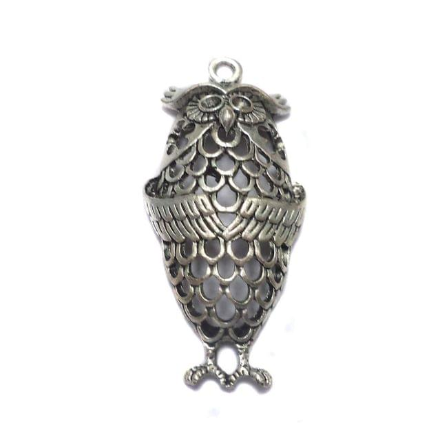 German Silver Owl Pendant 44x24mm